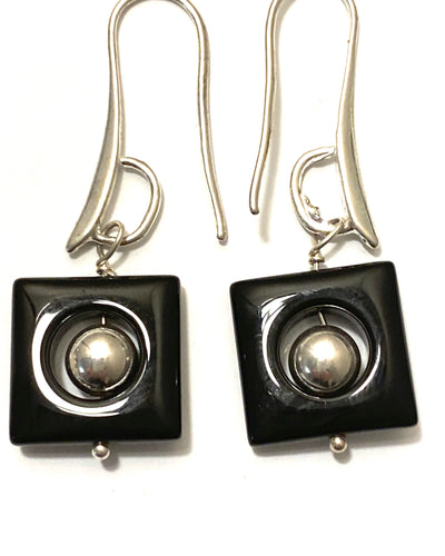 Square Onyx Frame with sterling silver bead and ear hooks.