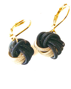 Black and gold short earrings with lever back hook