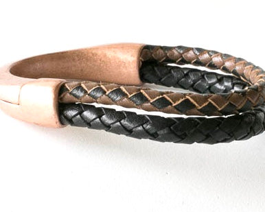 Brown Black Braided Leather bracelet with Copper magnetic clasp.