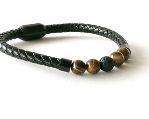 Tiger Eye and Leather Bracelet