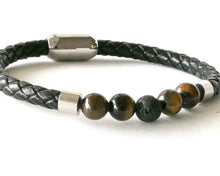 Load image into Gallery viewer, Black leather and tiger eye bracelet with stainless steel clasp.