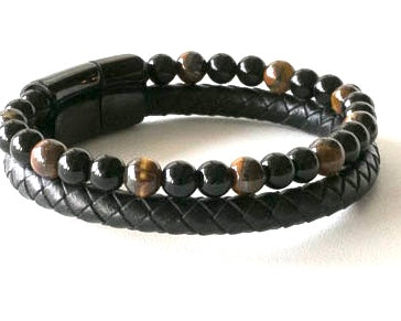 Tiger Eye and round braided leather bracelet with magnetic stainless steel clasp