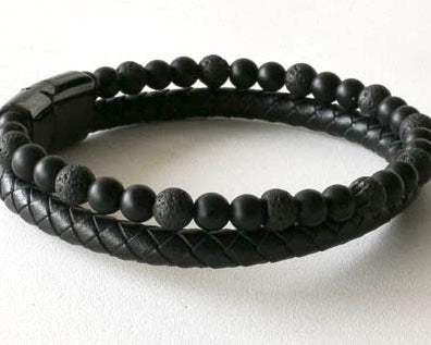 Lava beads and round braided leather with a stainless steel black magnetic clasp
