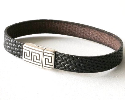 Textured Leather Bracelet with Magnetic pewter Greek Key Clasp.