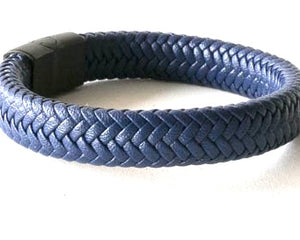 Blue flat braided leather bracelet with magnetic clasp
