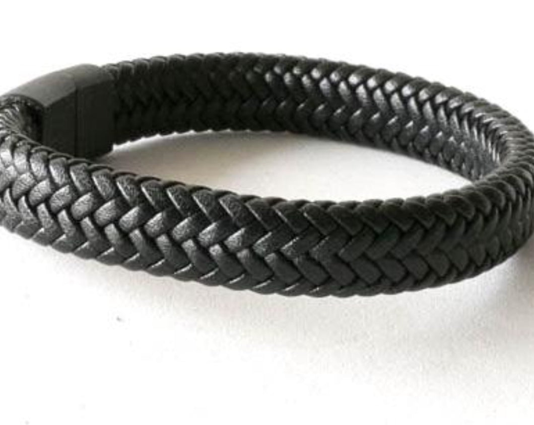 Black flat braided leather bracelet with black stainless steel magnetic clasp.