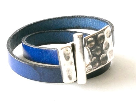 Wrap around leather bracelet with large rectangle pewter clasp