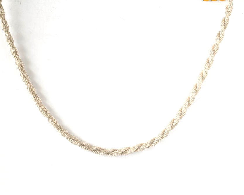 Sterling silver knitted chain with lobster claw closure. This 55 cms/22 inch necklace has lots of texture.