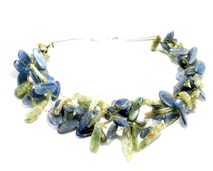 Blue and Green Kyanite Multi-Strand Necklace