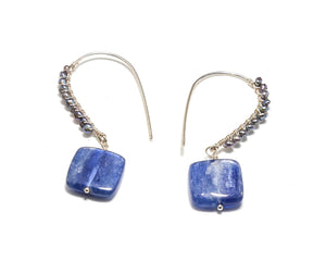 Kyanite Squares with Fresh Water pearl accent earrings