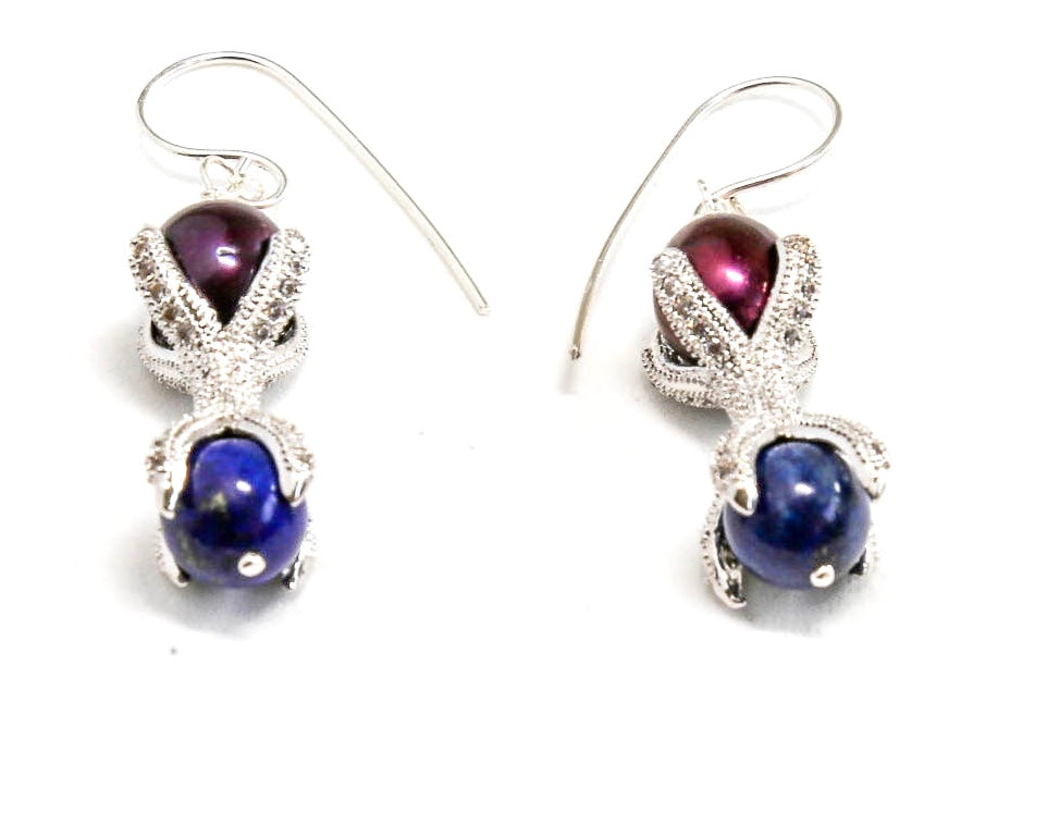 Lapis and Fresh Water Pearl Earrings with Sterling Silver Frame and ear wire.