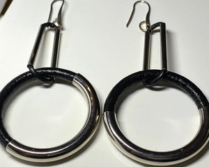 Leather and Silver Earrings