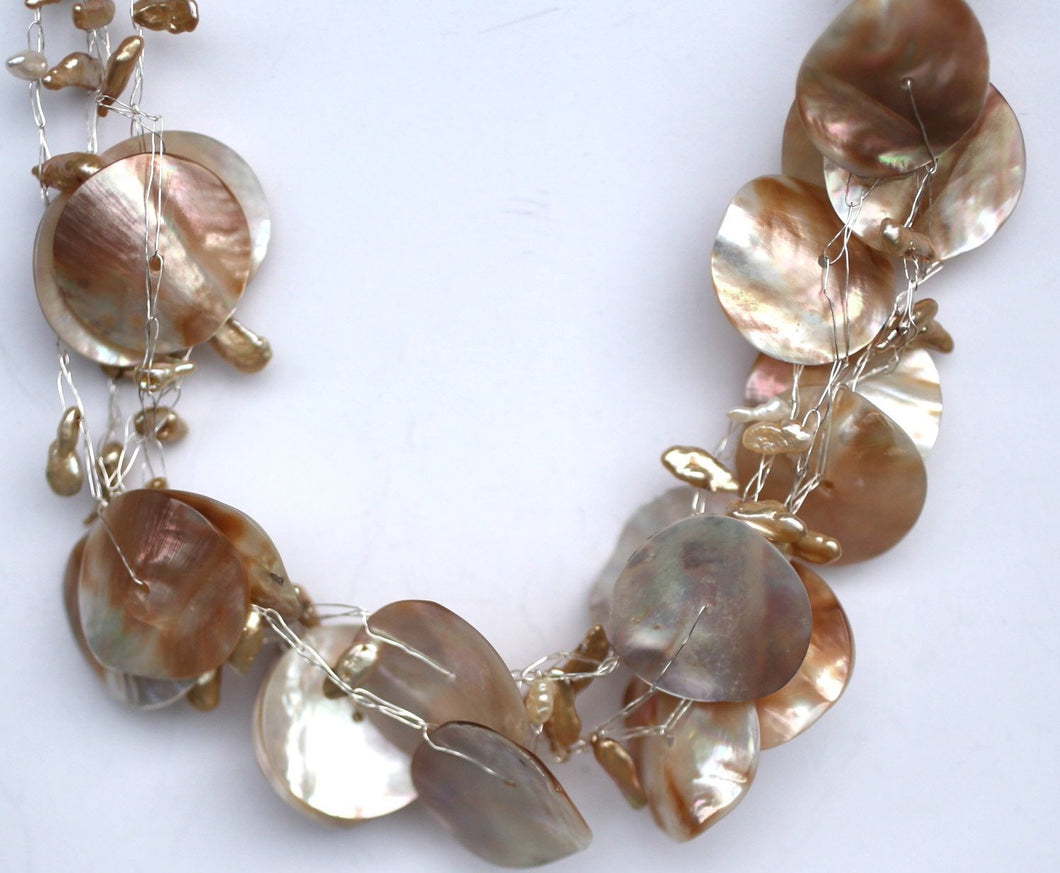 Mother of Pearl and Fresh Water Pearl Woven Necklace