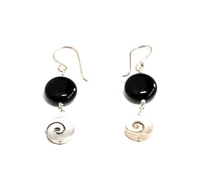 Onyx and Swirl Earrings