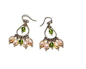 Peridot and Fresh Water Pearl Earrings