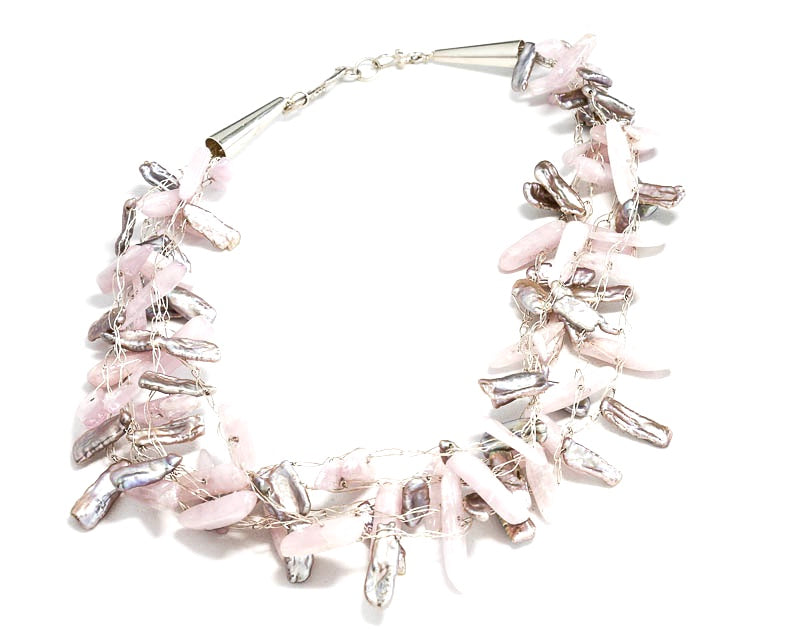 Fresh Water Pearl and Kunzite Necklace