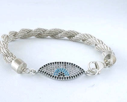 Sterling Silver knitted chain bracelet with evil eye charm and lobster claw closure