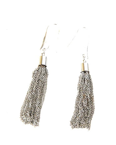 Silver Chain tassel earrings with Sterling silver ear hook. they are 2 inches long.