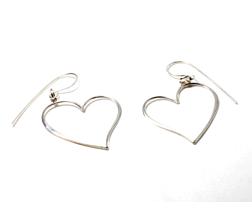 25 mm Sterling Silver Heart shaped earrings on a sheppard hook