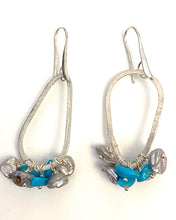 Load image into Gallery viewer, Sterling Silver, Turquoise and Grey Fresh Water Pearl Earrings.