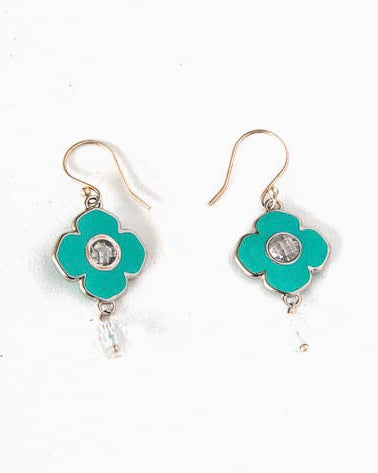 Turquoise enamelled clover leaf shape earrings with crystal quartz accents.