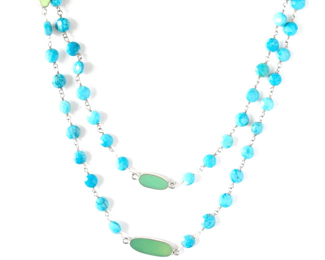 Turquoise and jade link chain with sterling silver. It is 40 inches long and can be doubled for a two strand necklace.