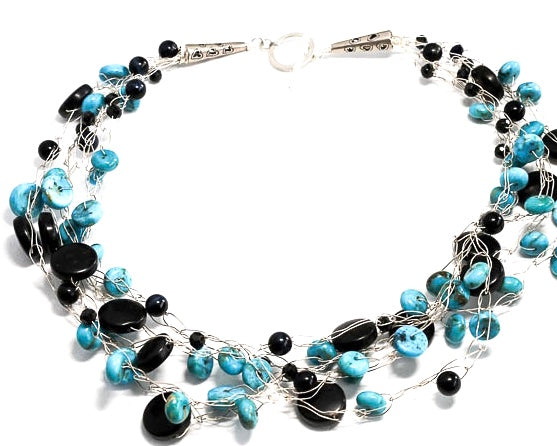 Onyx and Turquoise Multi-Strand Necklace