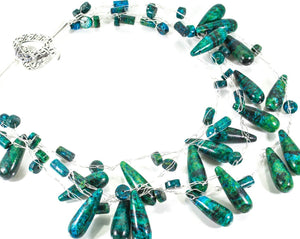 Blue Green Natural Multi strand Necklace with Sterling Silver Heart Clasp
