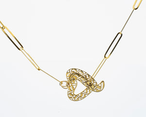 Gold Paper Clip Chain with Heart Pendant