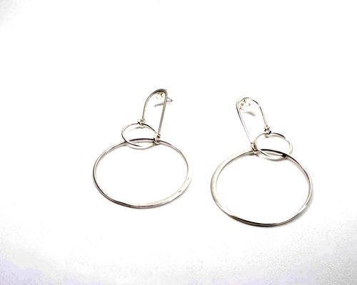 Sterling Silver double hoop earrings on an arch deco post