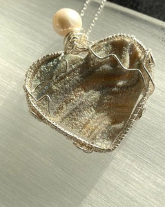 Druzy Heart with Fresh Water Pearl