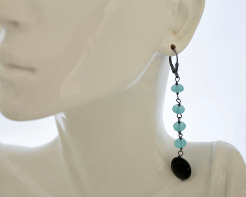 two inch long Mediterranean blue earring s with Onyx detail and lever back ear wires