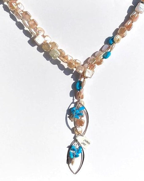 Square peach coloured fresh water pearls with turquoise accents lariat necklace.