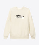 Tired Embroidered Golf Crewneck Cream