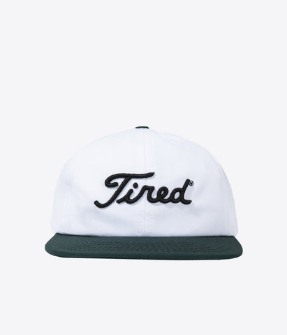 Tired Golf Logo Cap White Green