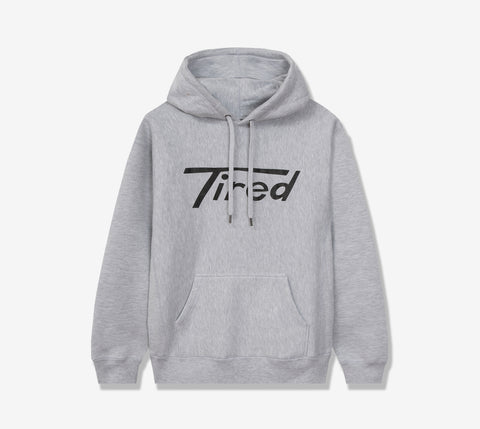 TIRED LONG T LOGO PULLOVER HOODIE HEATHER GRAY