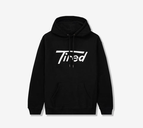 TIRED LONG T LOGO PULLOVER HOODIE BLACK