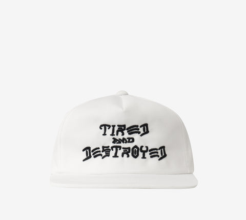 Tired x Thrasher T&D 5-PANEL UNCONSTRUCTED CAP WHITE