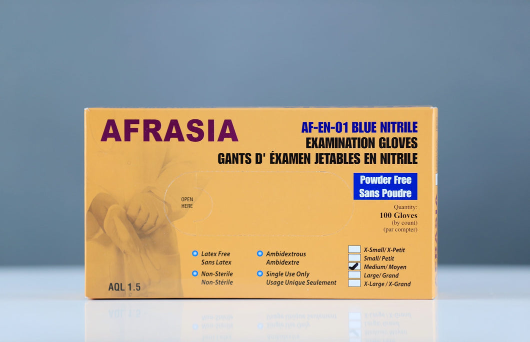 Afrasia Nitrile Gloves M (100 pcs) - CanMedic Tech