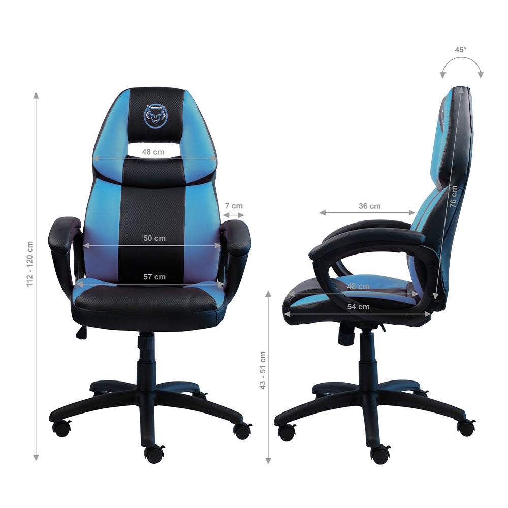 Qware Gaming Chair Castor  - blauw