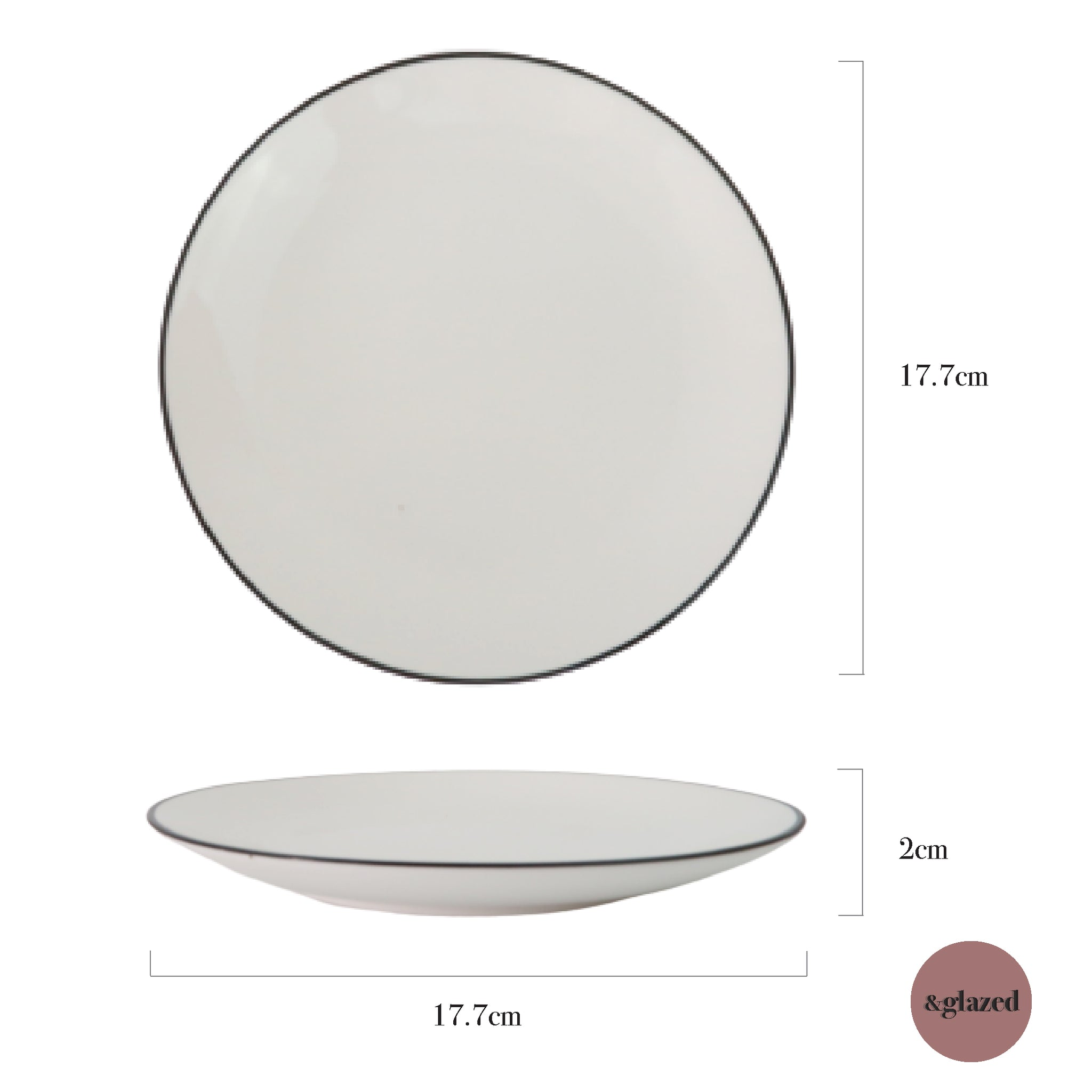 Lined 7-inch Small Round Plate