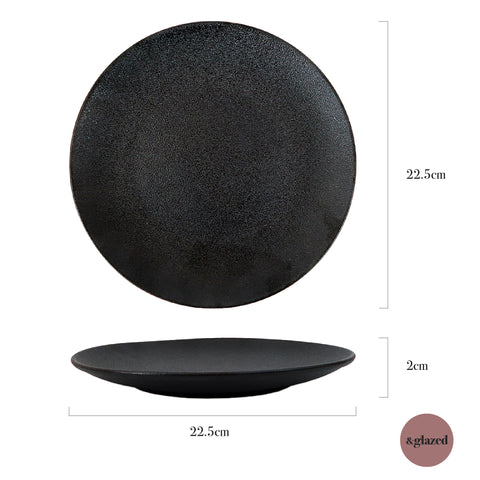 Charcoal 8.8-inch Large Round Plate