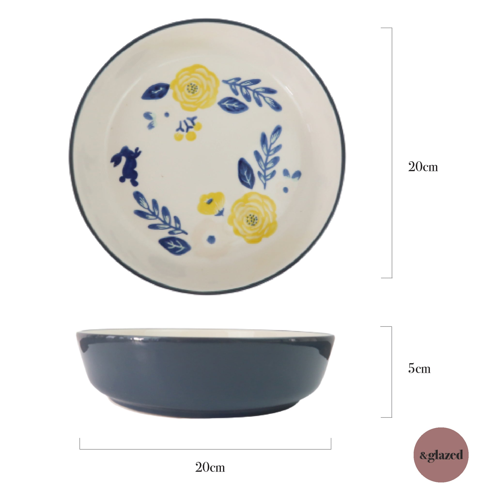 Rustic Garden 8-inch Medium Deep Dish Plate - Blue