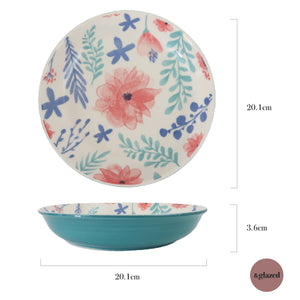 Summer Vines 8-inch Medium Deep Dish Plate - Ocean