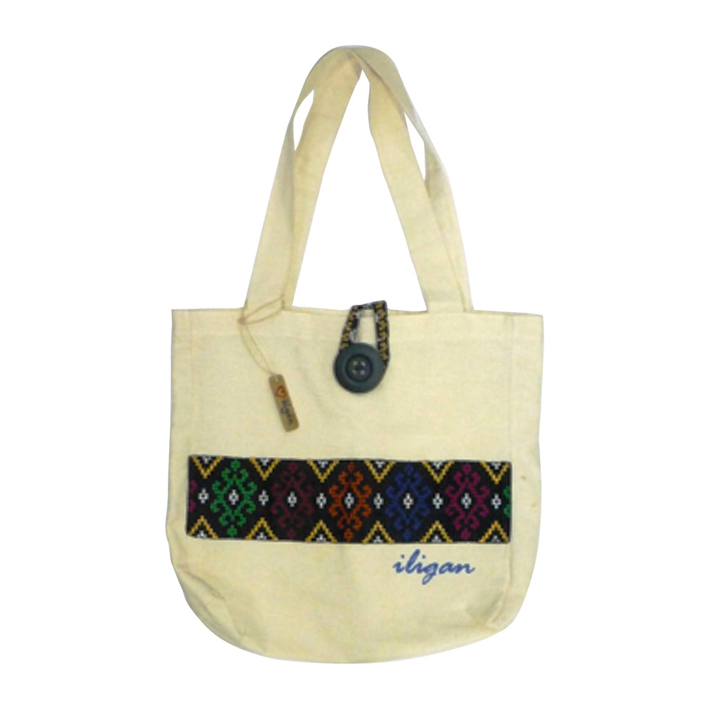 Keepsakes - Tote Bag with Handsewn Ethnic Pattern Patch