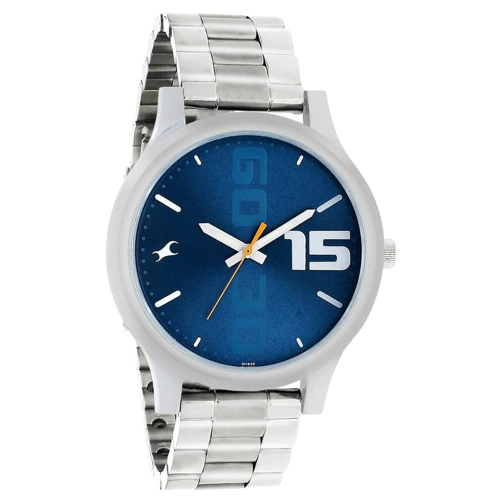 Fastrack Watch for Men-Silver Chain-Blue Dial