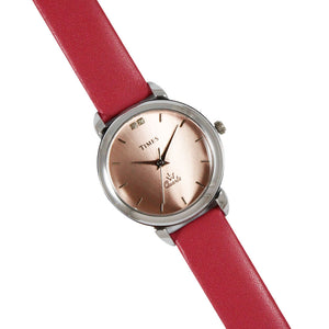 Full view of girls watch with pink color dial and pink color strap. Best watch available in online