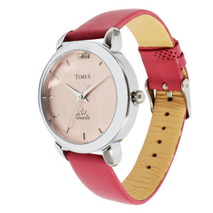 Side view of pink color girls watch now available online in India. Best price, offer ends soon.