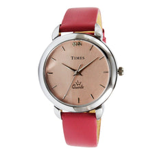Load image into Gallery viewer, Girls watch from Times brand. Pink dial and Pink color leather strap. This womens watch is priced under 1000. Offer ends soon