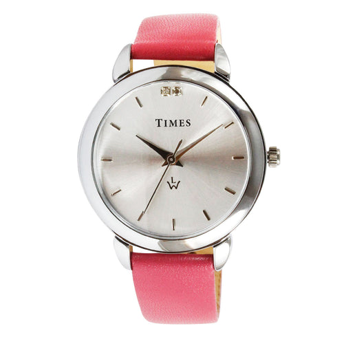 ladies watch belt watch online. Pink color strap and silver color dial with stones. Nice and good quality watch for girls on sale. offer ends soon. buy it today from shopwatches.in